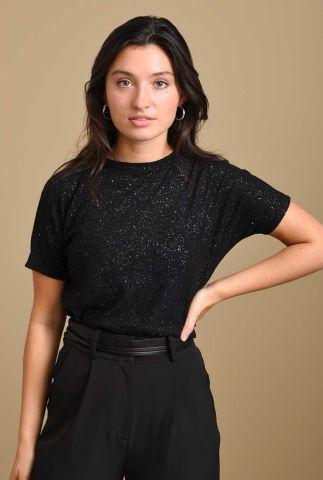 zwart glitter t-shirt met korte mouwen gigi glitter tee