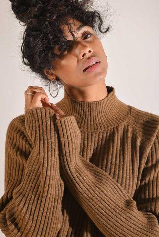 rib gebreide trui van katoenmix met een hoge hals gigi sweater