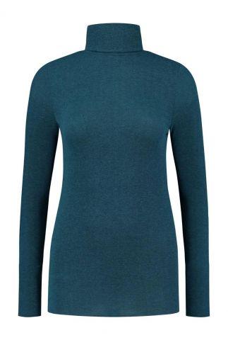 petrol kleurige col top met lange mouwen gill knit w20.77.1401