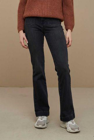 donkergrijze jeans met uitlopende broekspijp gina pant
