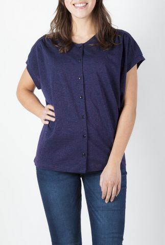 donker blauwe blouse met ingeweven lurex draad gloria