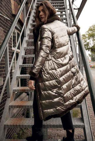 donker groene reversible jas metallic en faux fur gwen coat