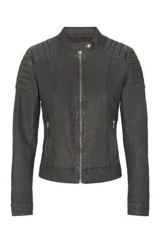 donker grijze leren jas  biker128