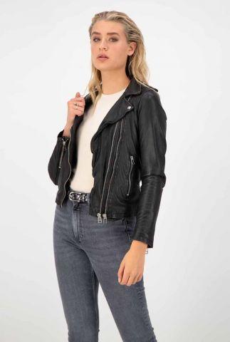 leren biker jas met schuine rits en vintage look biker513 noos