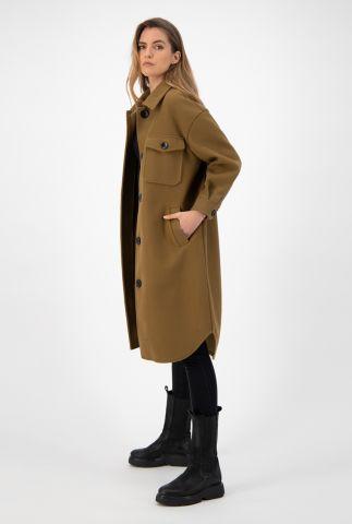 olijf kleurige loose fit jas met kraag en knoopsluiting gigi solid jacket