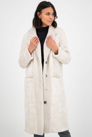 off white half lange faux fur jas met druk knopen midnight coat