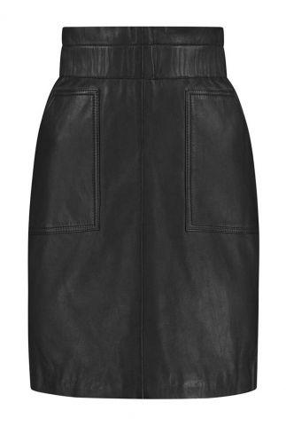 zwarte leren rok met elastische band parisienne skirt