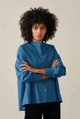 blauwe blouse met all-over ruit dessin gorky12 c1023