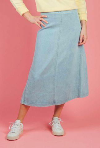 blauwe midi a-lijn rok van tencel gramy skirt