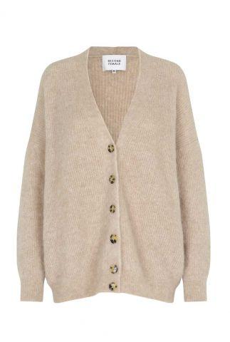 zand kleurig oversized vest van mohair wolmix grethe knit cardigan