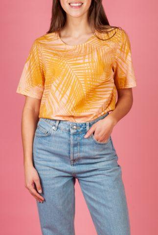 katoenen t-shirt met korte mouwen en all-over palmenprint lona GT0135