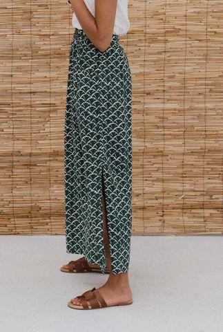groene maxi rok met schelp dessin en zijsplitten maxi skirt gurdeep