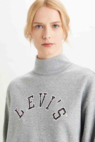 grijze sweater met geborduurd logo gardenia sweat 34251-0000