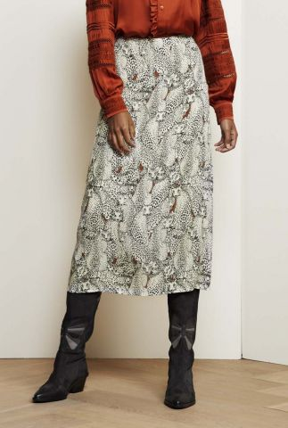 viscose midi rok met sneeuwtijger print hall skirt