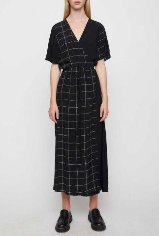 zwarte viscose maxi jurk met ruit dessin halle maxi wrap dress