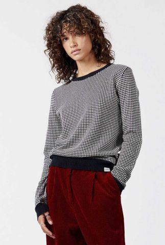 zwarte trui met ingebreid dessin hana jumper