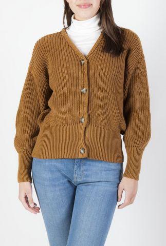 bruin vest met ingebreid kabel dessin en v-hals hanni cardigan