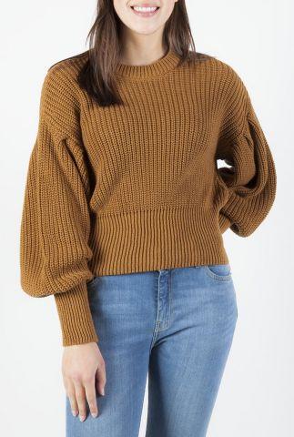 gebreide trui van katoen met ballonmouwen hanni o-neck