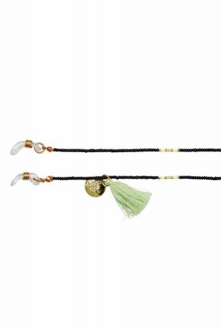 gekleurde zonnebril koord met kralen en kwastje happy beads suncord