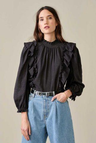 zwarte blouse met ruches en open rug detail hariet f1991