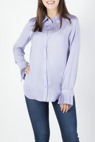 lila blouse van gerecycled polyester met plissé details hart shirt