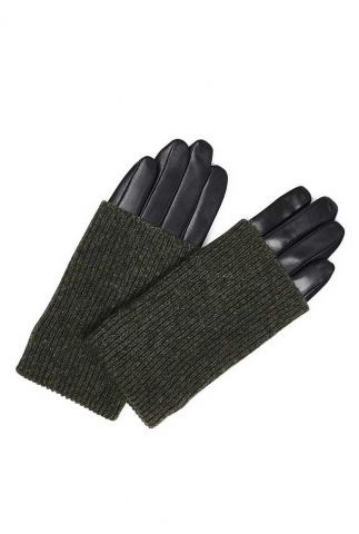 leren handschoenen met donkergroene wol helly