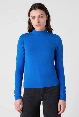 blauwe col top met geborduurd logo high neck W7R1D8X05