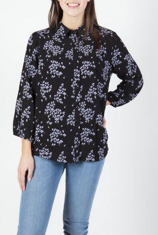 zwarte eco vero blouse met fijn bloemen dessin hunch print shirt