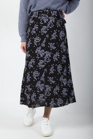 zwarte midi rok met fijne bloemen print hunch print skirt