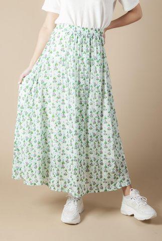 witte maxi rok met all-over roze en groene bloemen print icaros