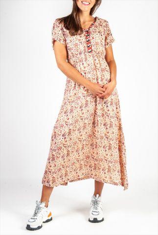 licht roze maxi jurk met sierlijke bloemen print en v-hals ilda