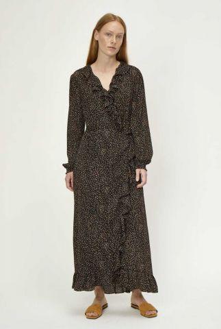 zwarte maxi jurk met ruches imogene maxi wrap dress