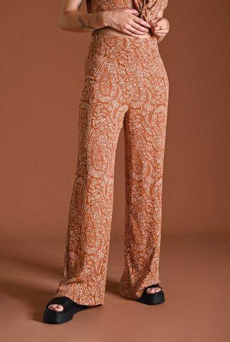 roest kleurige broek met witte paisley print indy rust