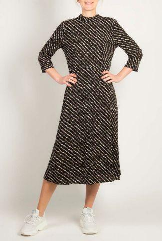 zwarte viscose jurk met all-over witte print inea dress