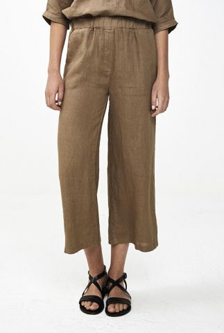 cropped bruine linnen broek ines linen pant