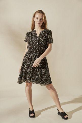 zwarte jurk met all-over print en korte mouwen irena