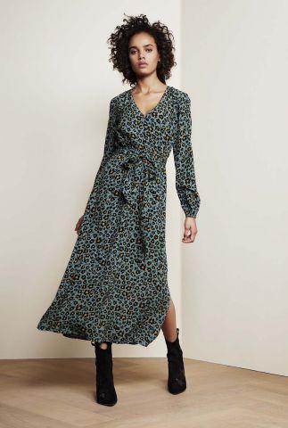 blauwe maxi jurk van viscose met ceintuur en v-hals isabella dress