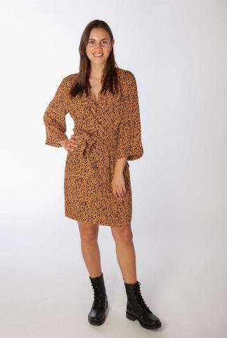 zwarte wikkel jurk met oranje print isabella print dress