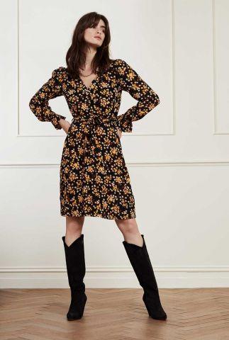zwarte jurk met strikceintuur en bloemen dessin isabella short dress