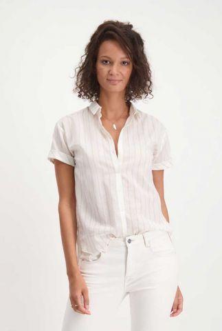 witte blouse met korte mouwen en streep dessin kyla it0227