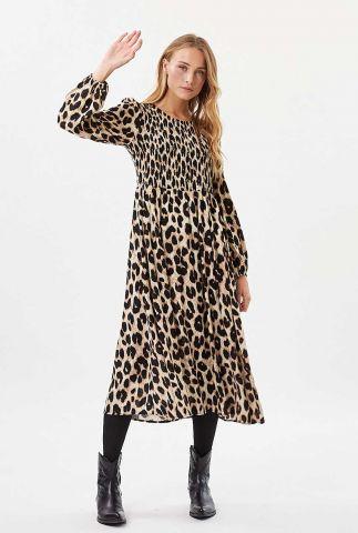 maxi jurk met smock detail en luipaard dessin ivala 1989