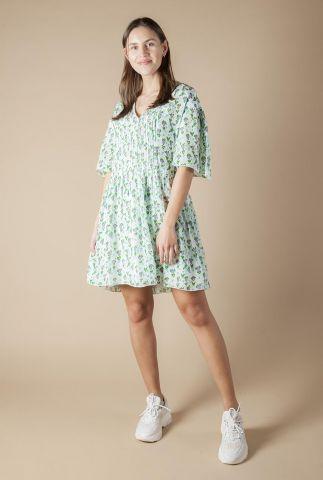 licht groene viscose jurk met all-over print en plooien ivanoa