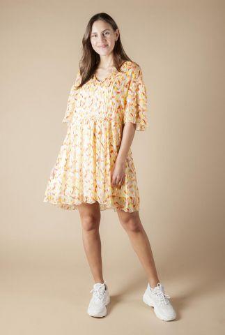 viscose jurk met all-over print en goudkleurig lurex glitter ivanoe