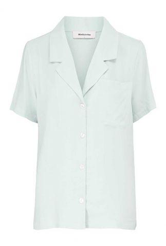 lichtblauwe blouse met reverse en korte mouwen ivar shirt