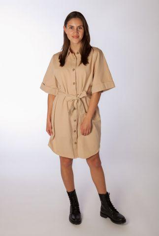 beige katoenen jurk met wijde mouwen en ceintuur ivette dress