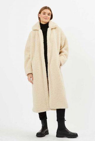 beige lange mantel jas van zachte teddy stof ivori 9024
