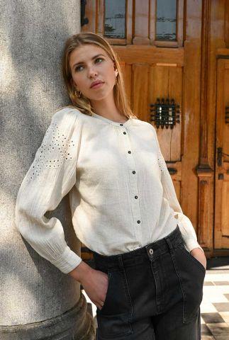 zandkleurige blouse met embroidery detail ivy slub blouse