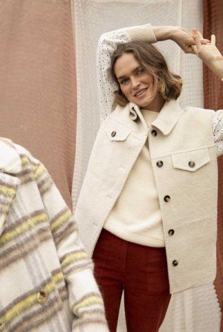 crème kleurige wol look bodywarmer sophie