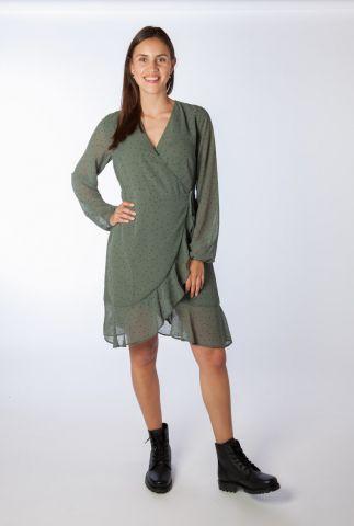 legergroene overslag jurk met stippen print jamir dress
