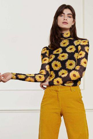 zwarte top met bloemen dessin Jane Puffed Sleeve Top